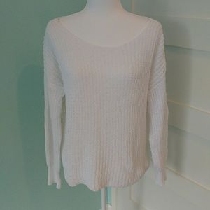 BB Dakota Large Weave White Sweater